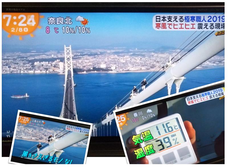 「日本を支える極寒職人」第2位とテレビで紹介~明石海峡大橋~