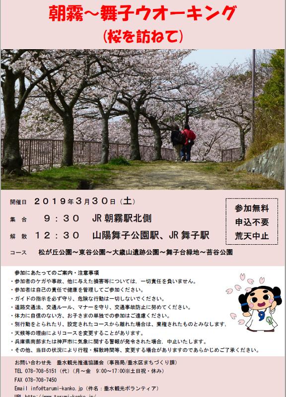 2019年春 垂水観光ボランティアと歩く③「朝霧~舞子ウォーキング(桜を訪ねて) 3月30日(土)