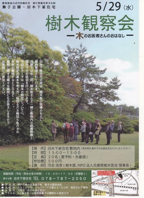 「樹木観察会」~木のお医者さんのおはなし~2019年5月29日(水) 旧木下家住宅